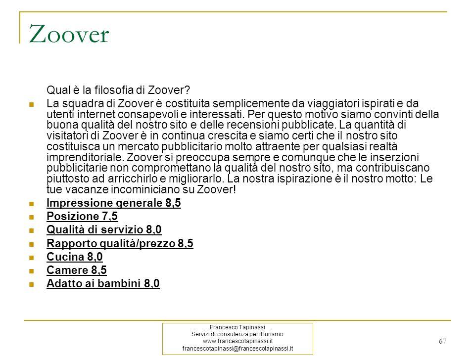 67 Zoover Qual è la filosofia di Zoover? La squadra di Zoover è costituita semplicemente da viaggiatori ispirati e da utenti internet consapevoli e in