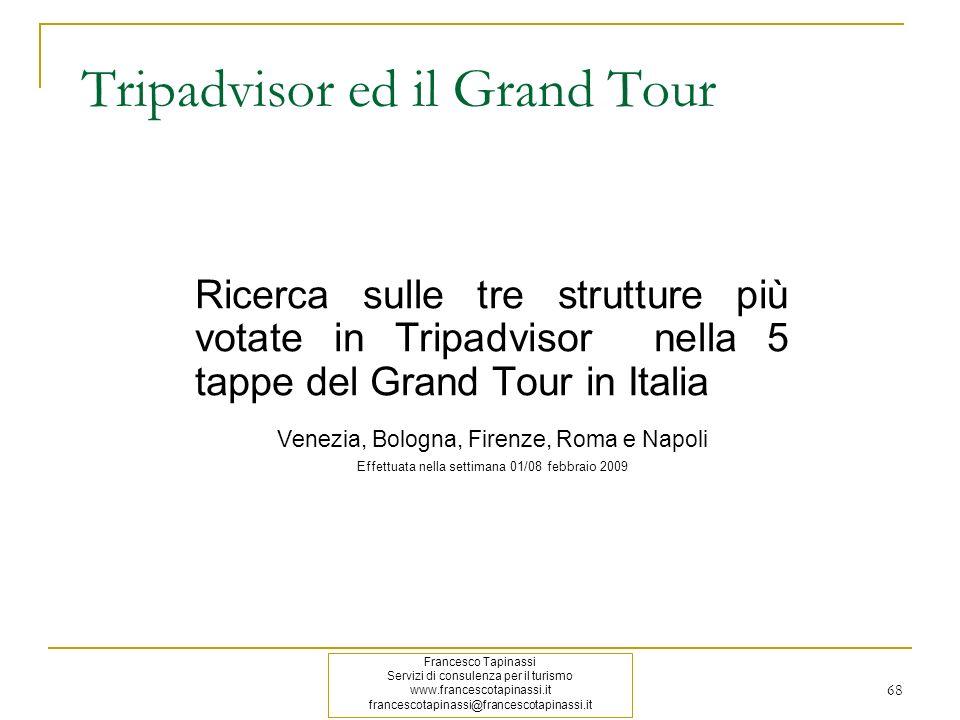 Tripadvisor ed il Grand Tour Ricerca sulle tre strutture più votate in Tripadvisor nella 5 tappe del Grand Tour in Italia Venezia, Bologna, Firenze, R