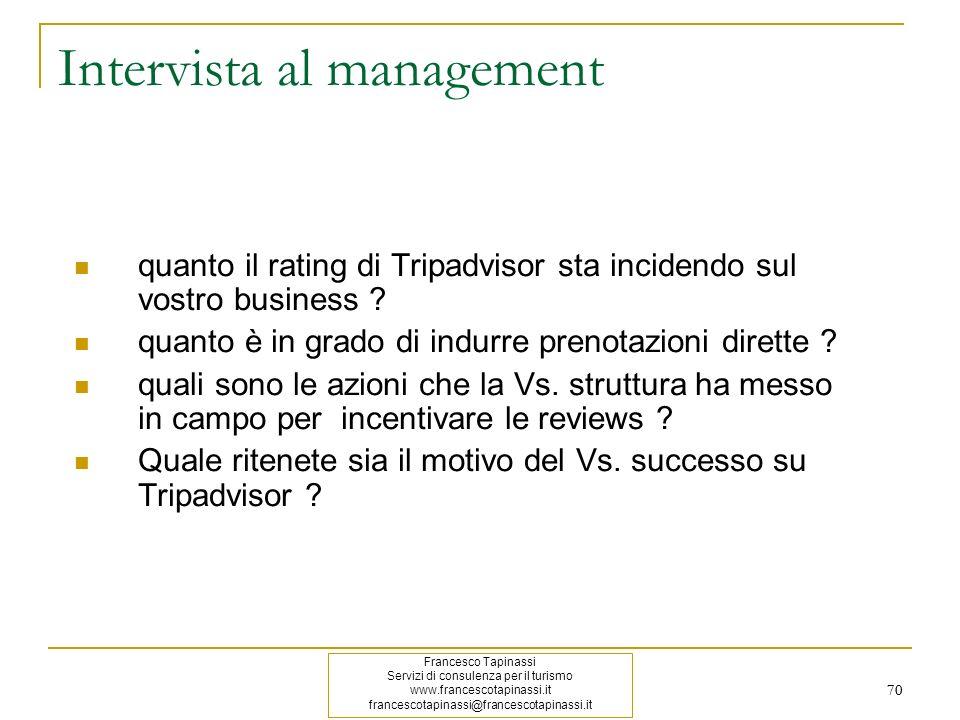 70 Intervista al management quanto il rating di Tripadvisor sta incidendo sul vostro business ? quanto è in grado di indurre prenotazioni dirette ? qu