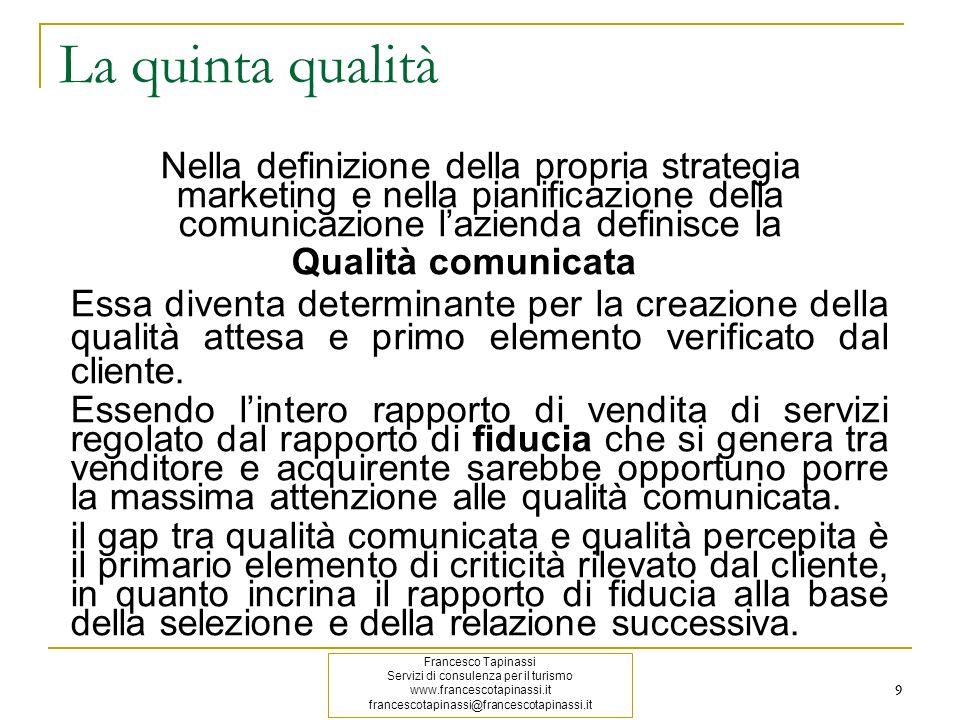 9 9 La quinta qualità Nella definizione della propria strategia marketing e nella pianificazione della comunicazione lazienda definisce la Qualità com