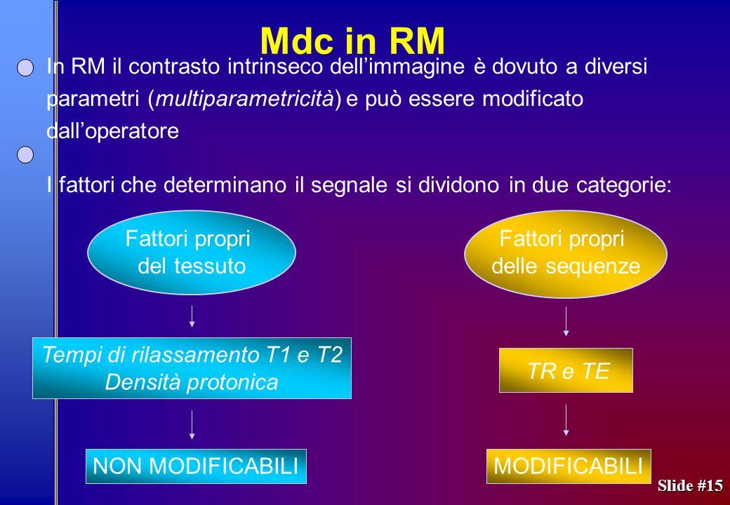 Slide #15 In RM il contrasto intrinseco dellimmagine è dovuto a diversi parametri (multiparametricità) e può essere modificato dalloperatore I fattori