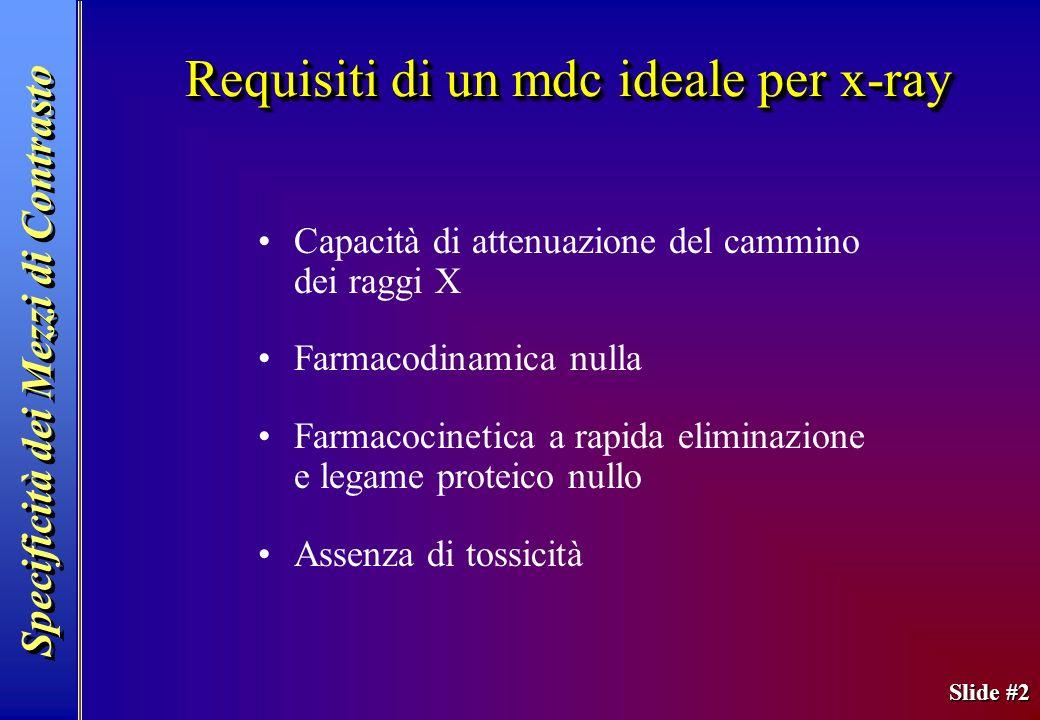 Slide #2 Specificità dei Mezzi di Contrasto Requisiti di un mdc ideale per x-ray Capacità di attenuazione del cammino dei raggi X Farmacodinamica null