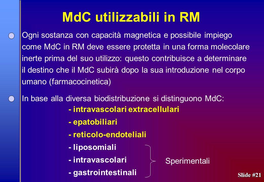 Slide #21 Ogni sostanza con capacità magnetica e possibile impiego come MdC in RM deve essere protetta in una forma molecolare inerte prima del suo ut