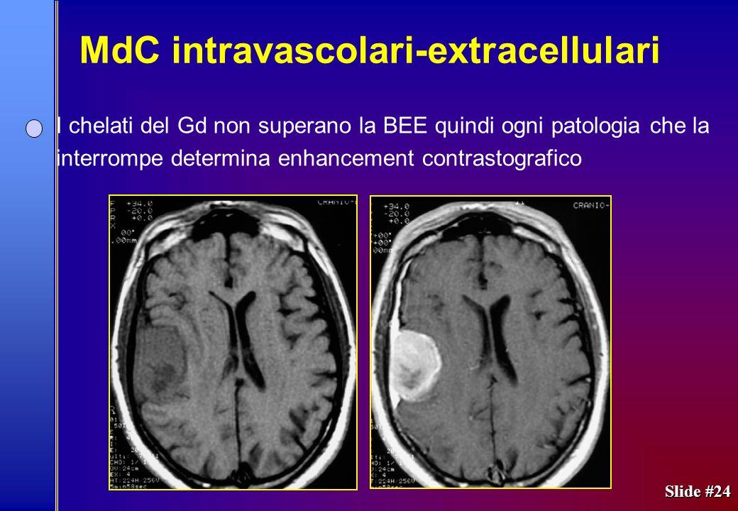 Slide #24 I chelati del Gd non superano la BEE quindi ogni patologia che la interrompe determina enhancement contrastografico MdC intravascolari-extra