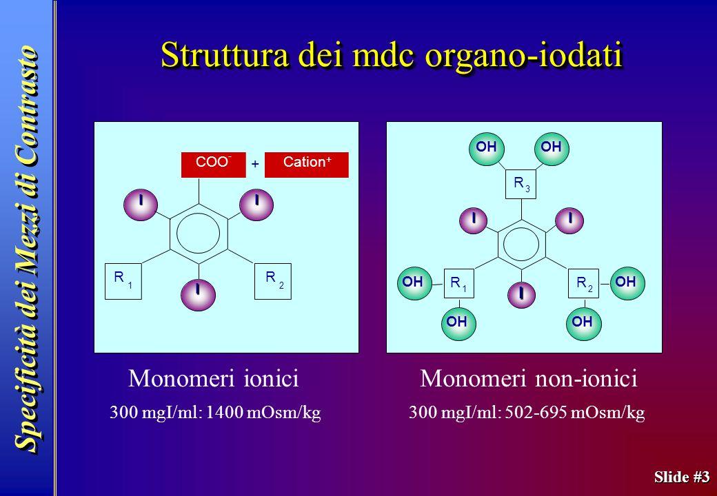 Slide #3 Monomeri ionici OH I I I R 2 R 1 R 3 I I I R 2 R 1 COO - Cation + + Monomeri non-ionici 300 mgI/ml: 1400 mOsm/kg300 mgI/ml: 502-695 mOsm/kg S