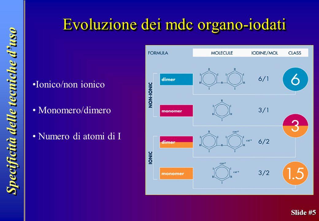 Slide #5 Evoluzione dei mdc organo-iodati Ionico/non ionico Monomero/dimero Numero di atomi di I Specificità delle tecniche duso