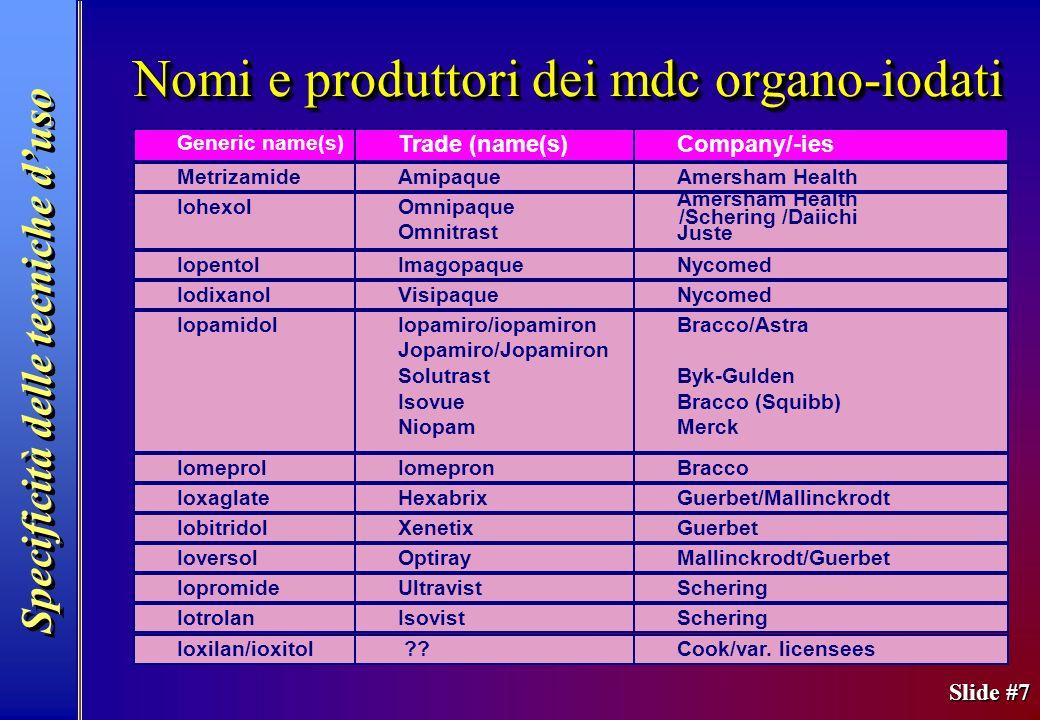 Slide #7 Nomi e produttori dei mdc organo-iodati Specificità delle tecniche duso Generic name(s) Trade (name(s)Company/-ies MetrizamideAmipaqueAmersha