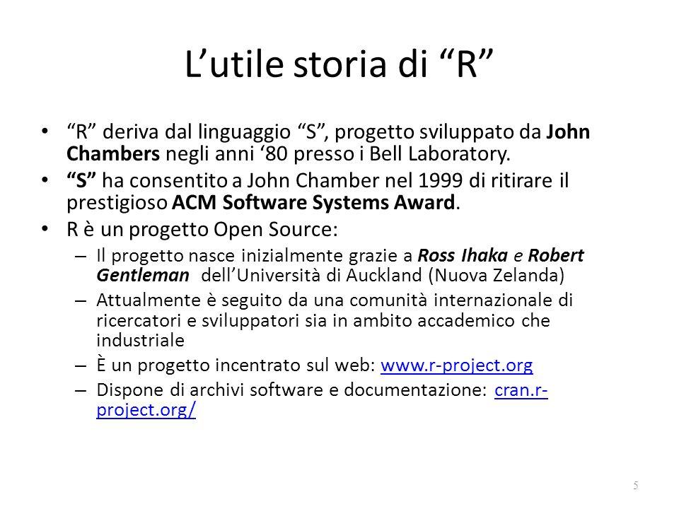 Lutile storia di R R deriva dal linguaggio S, progetto sviluppato da John Chambers negli anni 80 presso i Bell Laboratory. S ha consentito a John Cham
