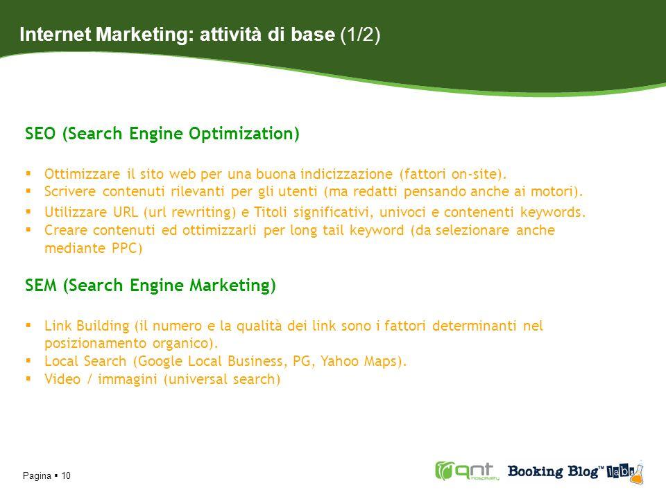 Pagina 10 SEO (Search Engine Optimization) Ottimizzare il sito web per una buona indicizzazione (fattori on-site). Scrivere contenuti rilevanti per gl