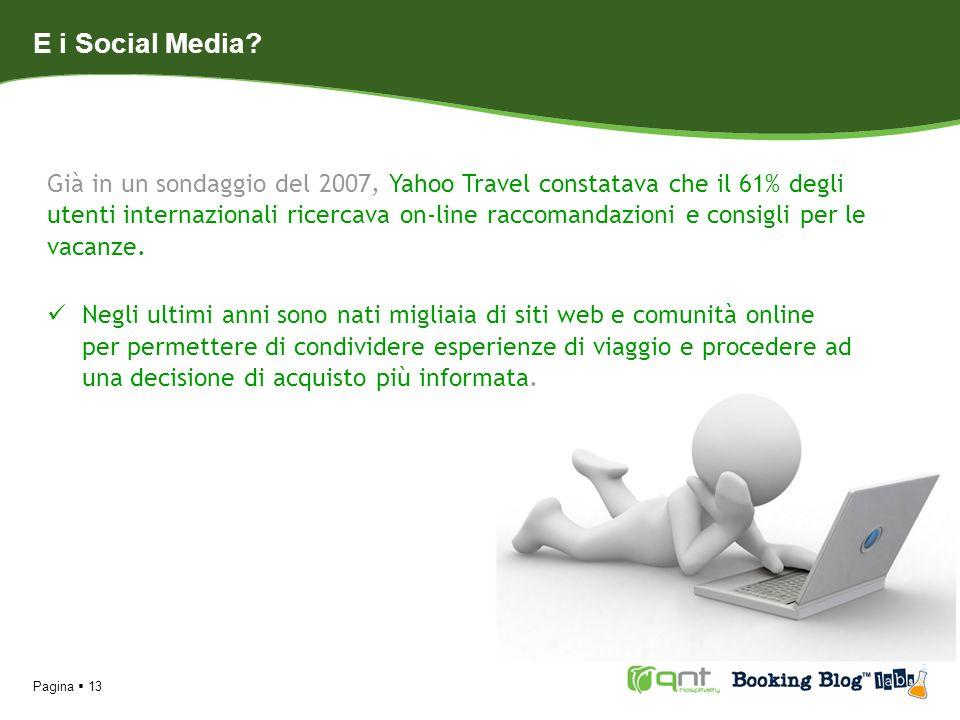 Pagina 13 E i Social Media? Già in un sondaggio del 2007, Yahoo Travel constatava che il 61% degli utenti internazionali ricercava on-line raccomandaz