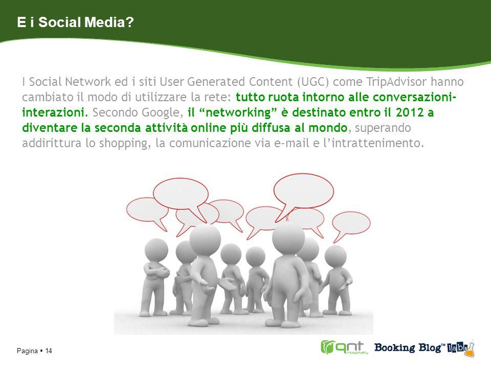 Pagina 14 E i Social Media? I Social Network ed i siti User Generated Content (UGC) come TripAdvisor hanno cambiato il modo di utilizzare la rete: tut