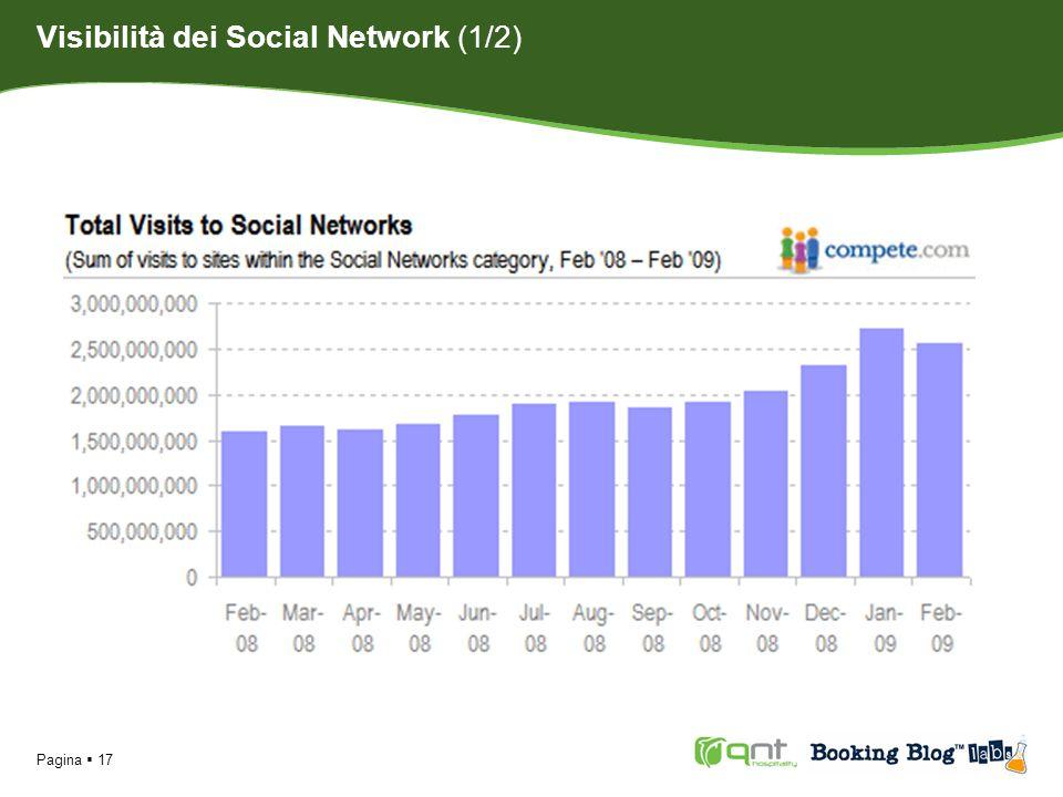 Pagina 18 Da febbraio 2008 a febbraio 2009 il numero delle visite totali mensili ai siti di Social Network è aumentato del 60%.