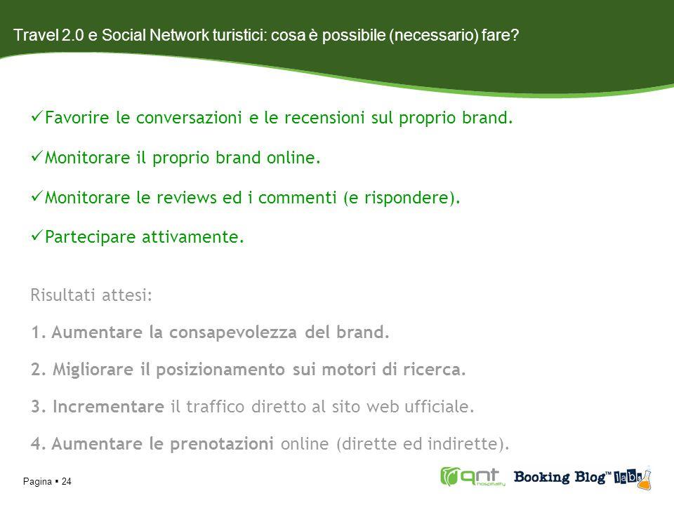 Pagina 24 Travel 2.0 e Social Network turistici: cosa è possibile (necessario) fare? Favorire le conversazioni e le recensioni sul proprio brand. Moni