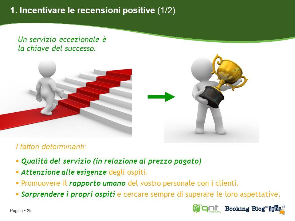 Pagina 25 1. Incentivare le recensioni positive (1/2) Un servizio eccezionale è la chiave del successo. I fattori determinanti: Qualità del servizio (