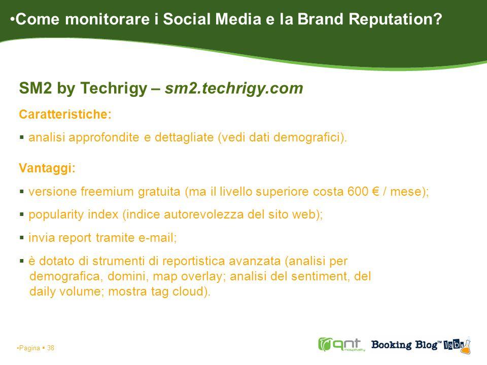 Pagina 38 SM2 by Techrigy – sm2.techrigy.com Caratteristiche: analisi approfondite e dettagliate (vedi dati demografici). Vantaggi: versione freemium