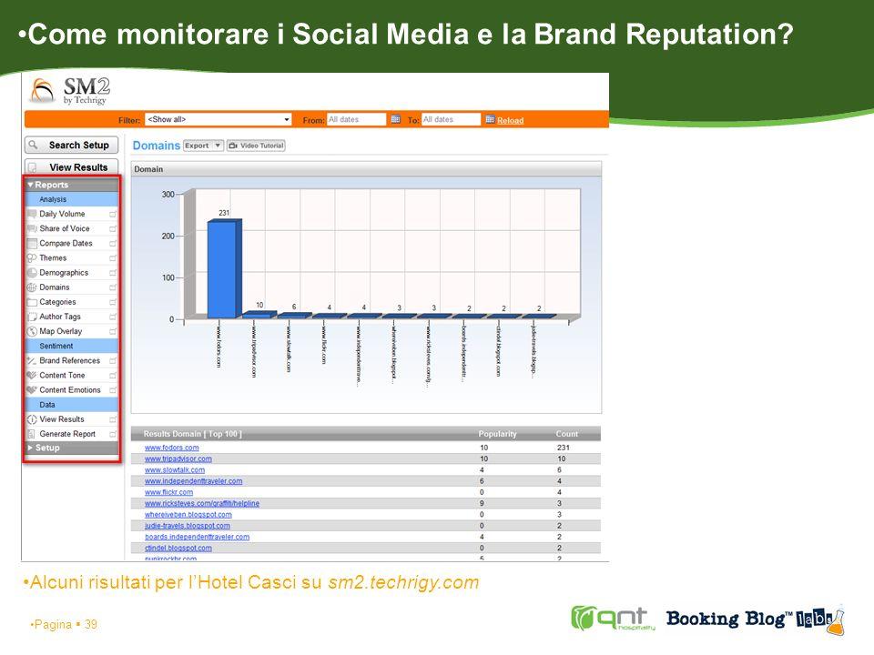 Pagina 39 Alcuni risultati per lHotel Casci su sm2.techrigy.com Come monitorare i Social Media e la Brand Reputation?