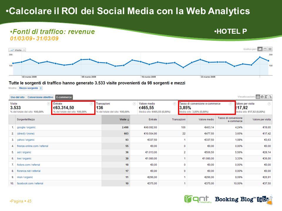 Pagina 45 Calcolare il ROI dei Social Media con la Web Analytics Fonti di traffico: revenue 01/03/09 - 31/03/09 HOTEL P