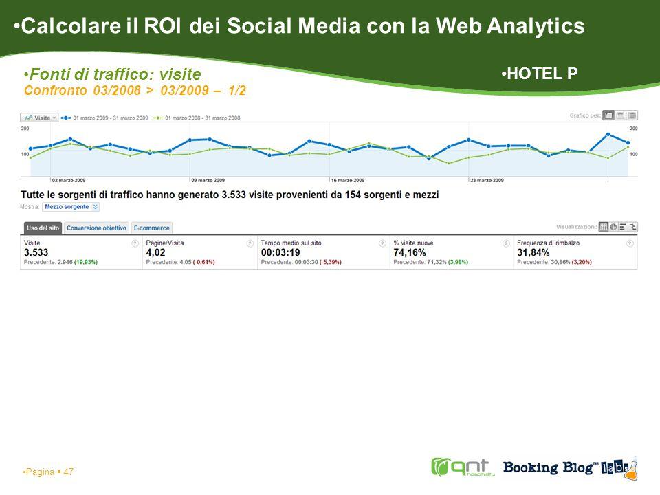 Pagina 47 Calcolare il ROI dei Social Media con la Web Analytics Fonti di traffico: visite Confronto 03/2008 > 03/2009 – 1/2 HOTEL P