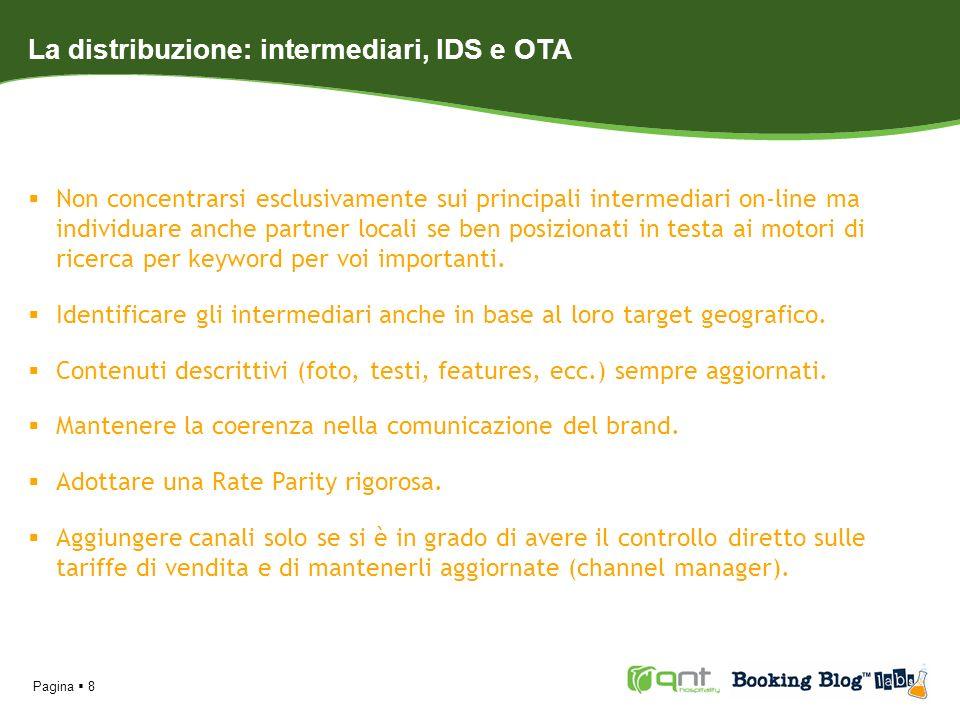 Pagina 8 La distribuzione: intermediari, IDS e OTA Non concentrarsi esclusivamente sui principali intermediari on-line ma individuare anche partner lo