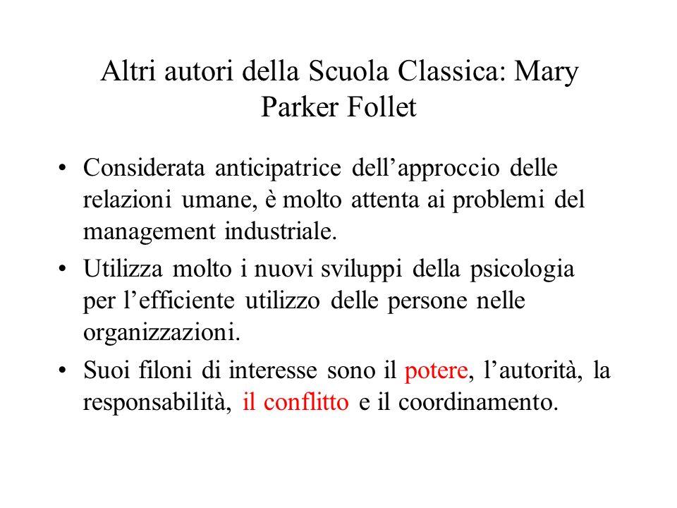 Altri autori della Scuola Classica: Mary Parker Follet Considerata anticipatrice dellapproccio delle relazioni umane, è molto attenta ai problemi del