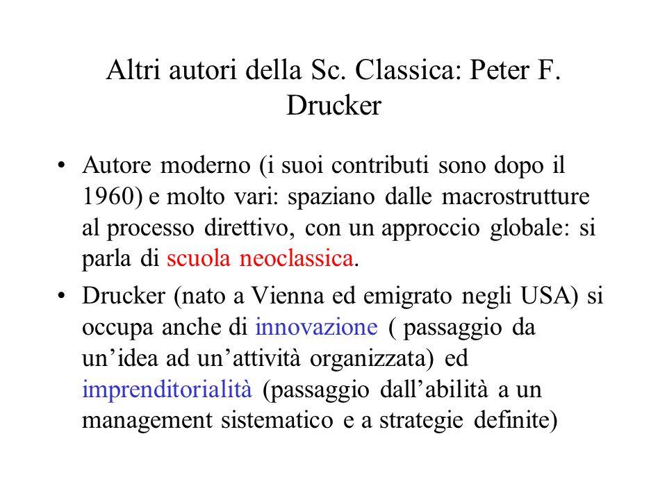 Altri autori della Sc. Classica: Peter F. Drucker Autore moderno (i suoi contributi sono dopo il 1960) e molto vari: spaziano dalle macrostrutture al