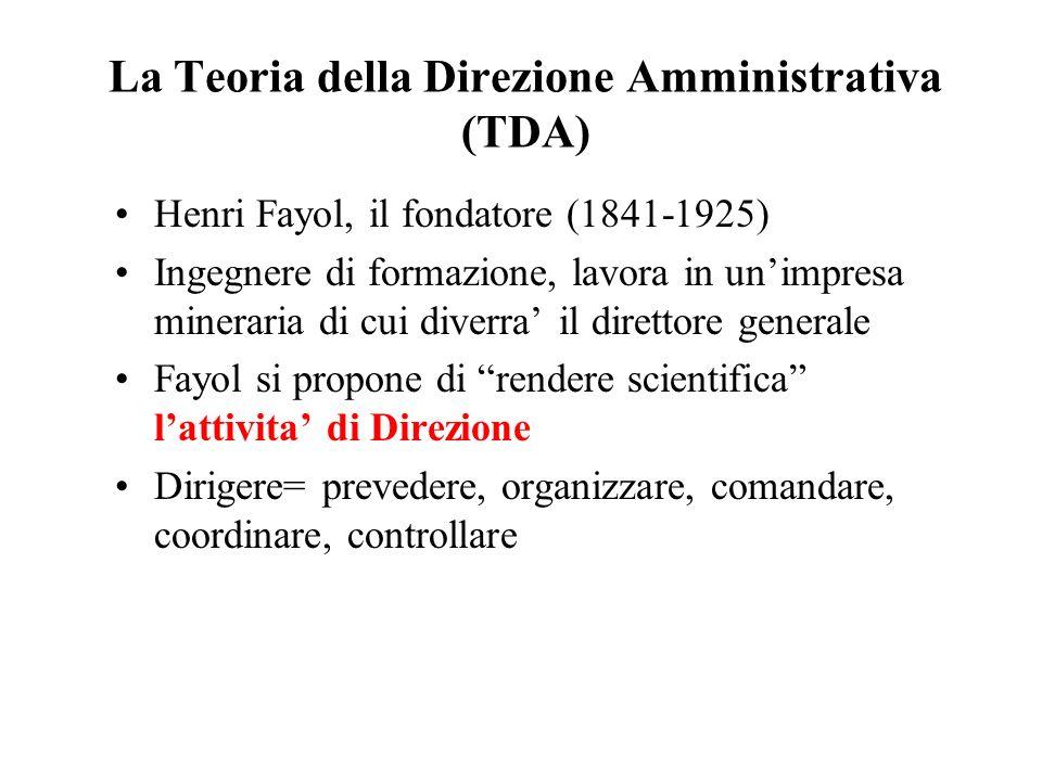 La Teoria della Direzione Amministrativa (TDA) Henri Fayol, il fondatore (1841-1925) Ingegnere di formazione, lavora in unimpresa mineraria di cui div