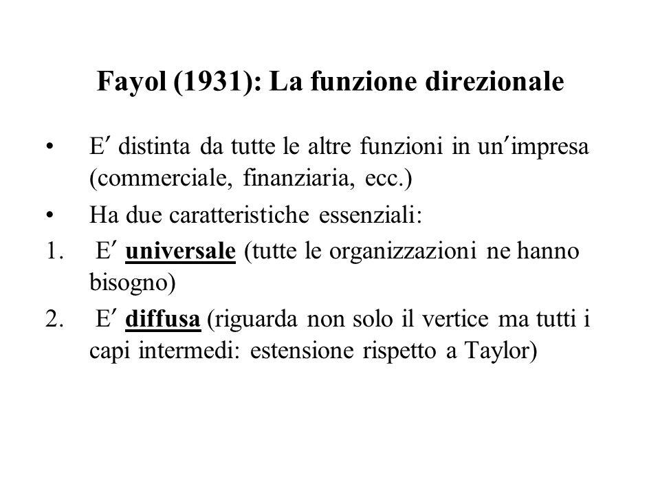 Fayol (1931): La funzione direzionale E distinta da tutte le altre funzioni in un impresa (commerciale, finanziaria, ecc.) Ha due caratteristiche esse
