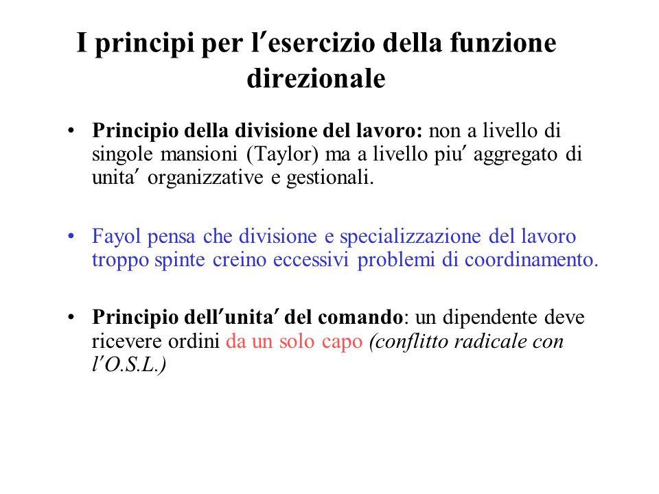 I principi per l esercizio della funzione direzionale Principio della divisione del lavoro: non a livello di singole mansioni (Taylor) ma a livello pi