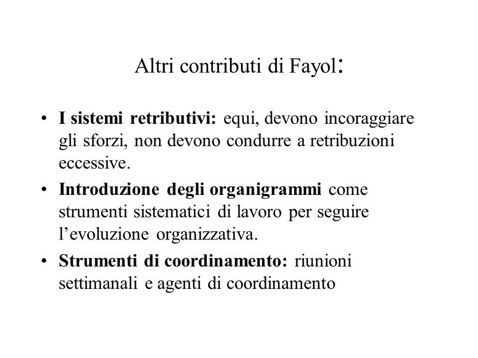 Altri contributi di Fayol : I sistemi retributivi: equi, devono incoraggiare gli sforzi, non devono condurre a retribuzioni eccessive. Introduzione de