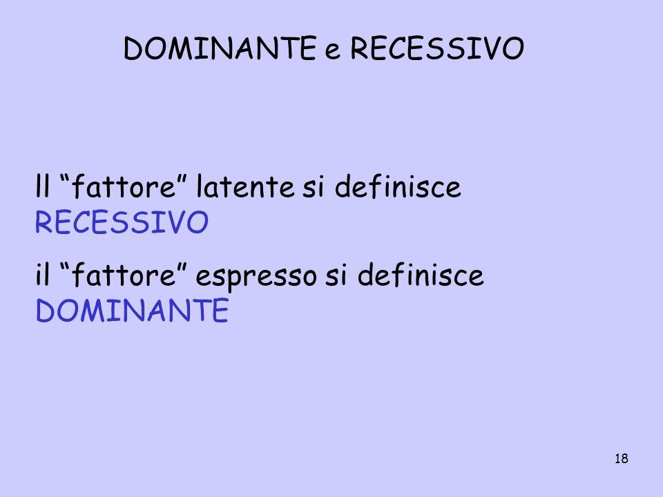 18 DOMINANTE e RECESSIVO ll fattore latente si definisce RECESSIVO il fattore espresso si definisce DOMINANTE