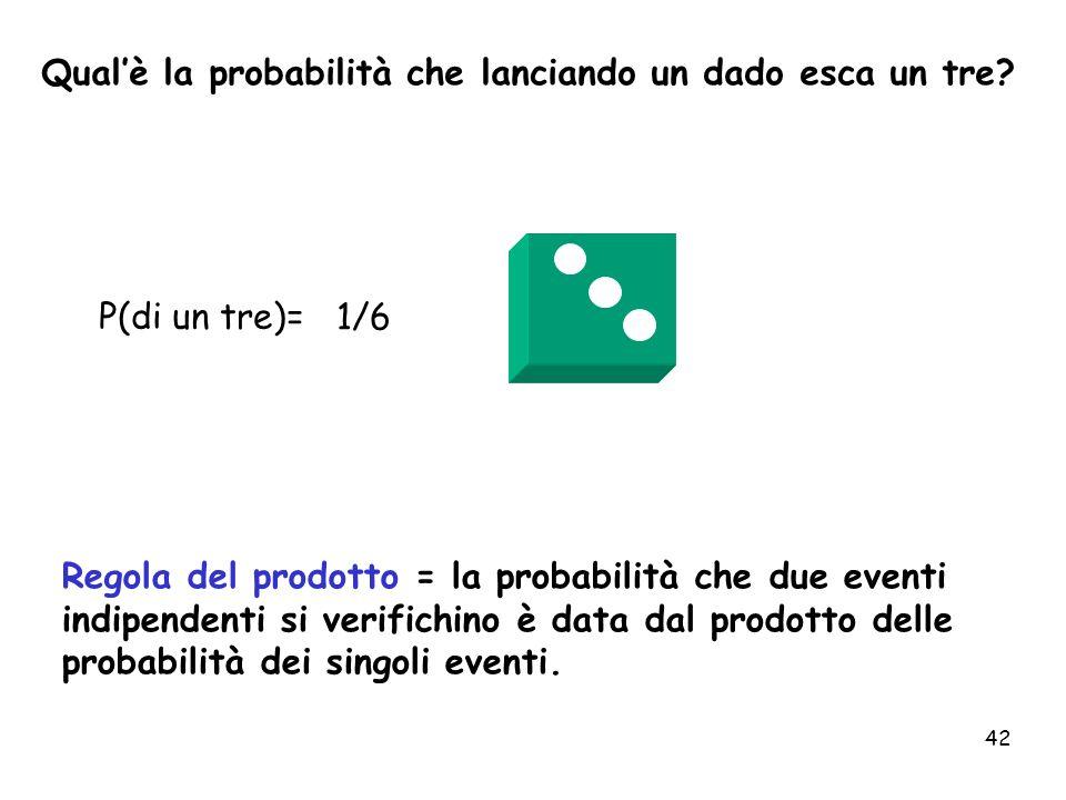 42 P(di un tre)= 1/6 Qualè la probabilità che lanciando un dado esca un tre? Regola del prodotto = la probabilità che due eventi indipendenti si verif