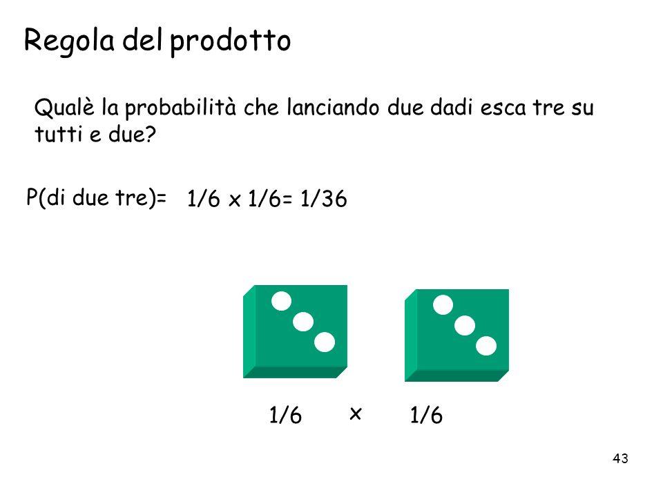 43 P(di due tre)= Regola del prodotto 1/6 x 1/6= 1/36 1/6 Qualè la probabilità che lanciando due dadi esca tre su tutti e due? x 1/6