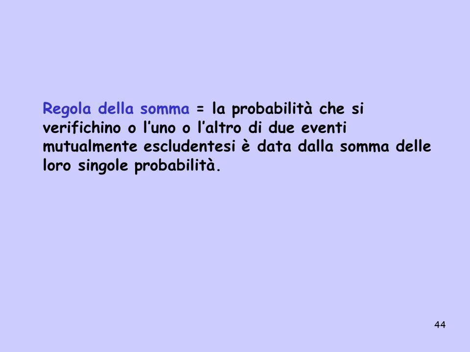 44 Regola della somma = la probabilità che si verifichino o luno o laltro di due eventi mutualmente escludentesi è data dalla somma delle loro singole