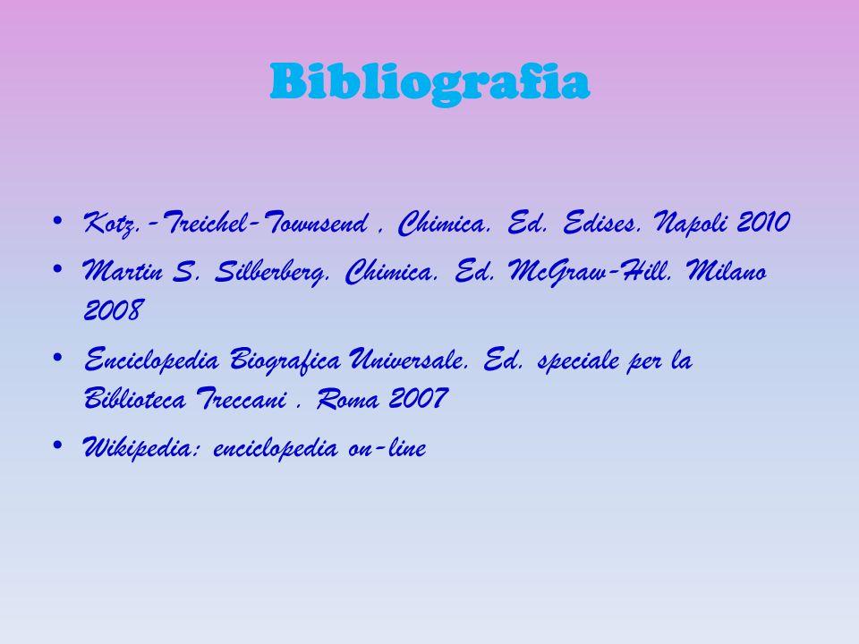 Bibliografia Kotz.-Treichel-Townsend, Chimica. Ed. Edises. Napoli 2010 Martin S. Silberberg. Chimica. Ed. McGraw-Hill. Milano 2008 Enciclopedia Biogra