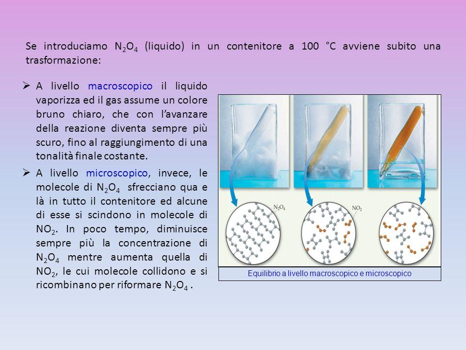Se introduciamo N 2 O 4 (liquido) in un contenitore a 100 °C avviene subito una trasformazione: A livello macroscopico il liquido vaporizza ed il gas