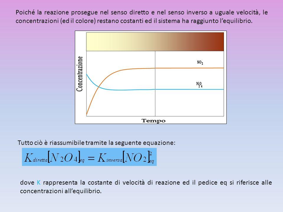 Poiché la reazione prosegue nel senso diretto e nel senso inverso a uguale velocità, le concentrazioni (ed il colore) restano costanti ed il sistema h