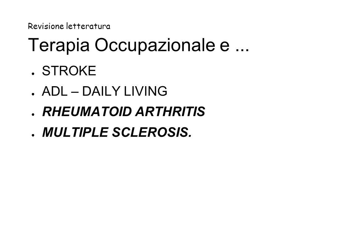 Revisione letteratura Terapia Occupazionale e...