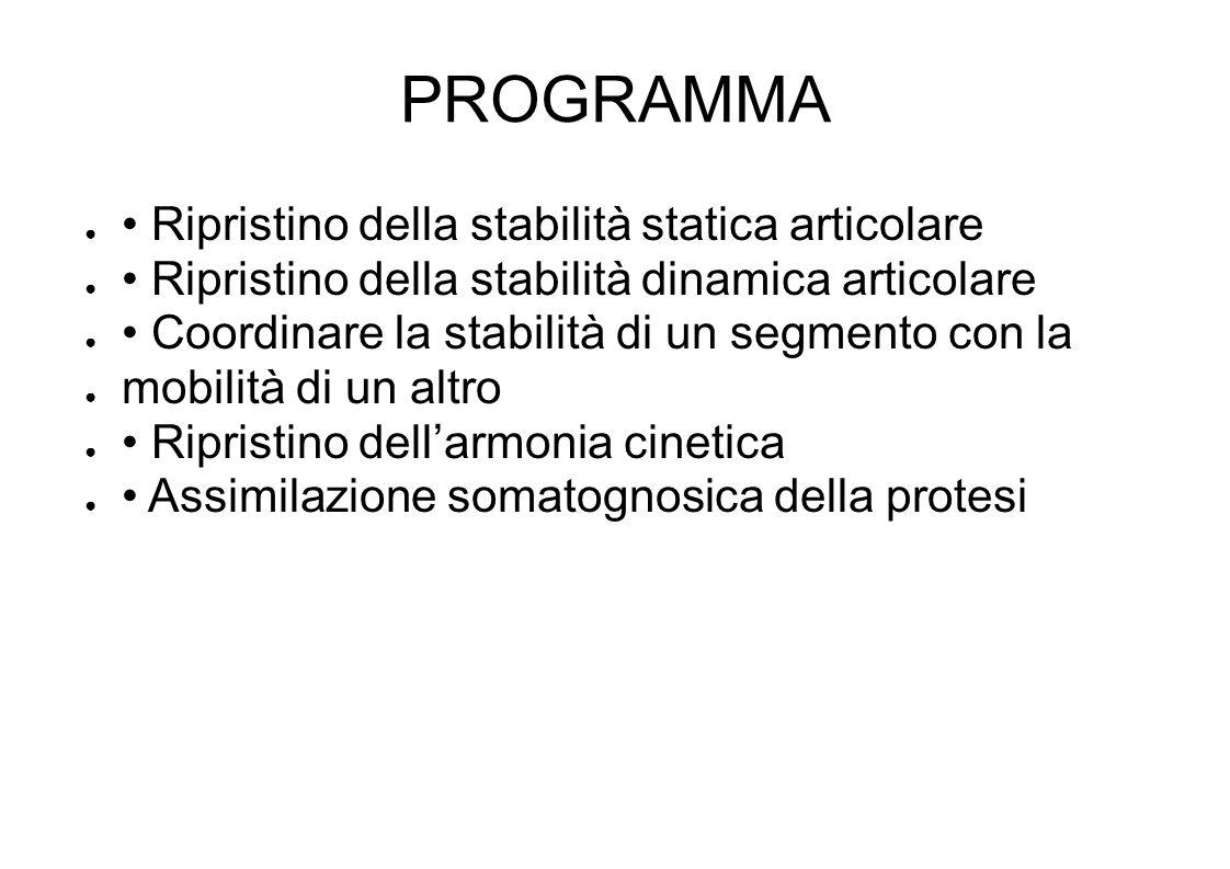 PROGRAMMA Ripristino della stabilità statica articolare Ripristino della stabilità dinamica articolare Coordinare la stabilità di un segmento con la mobilità di un altro Ripristino dellarmonia cinetica Assimilazione somatognosica della protesi
