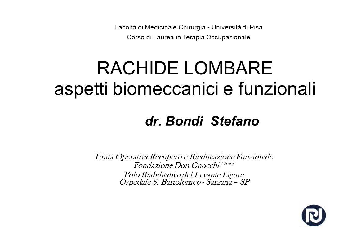 RACHIDE LOMBARE aspetti biomeccanici e funzionali dr.