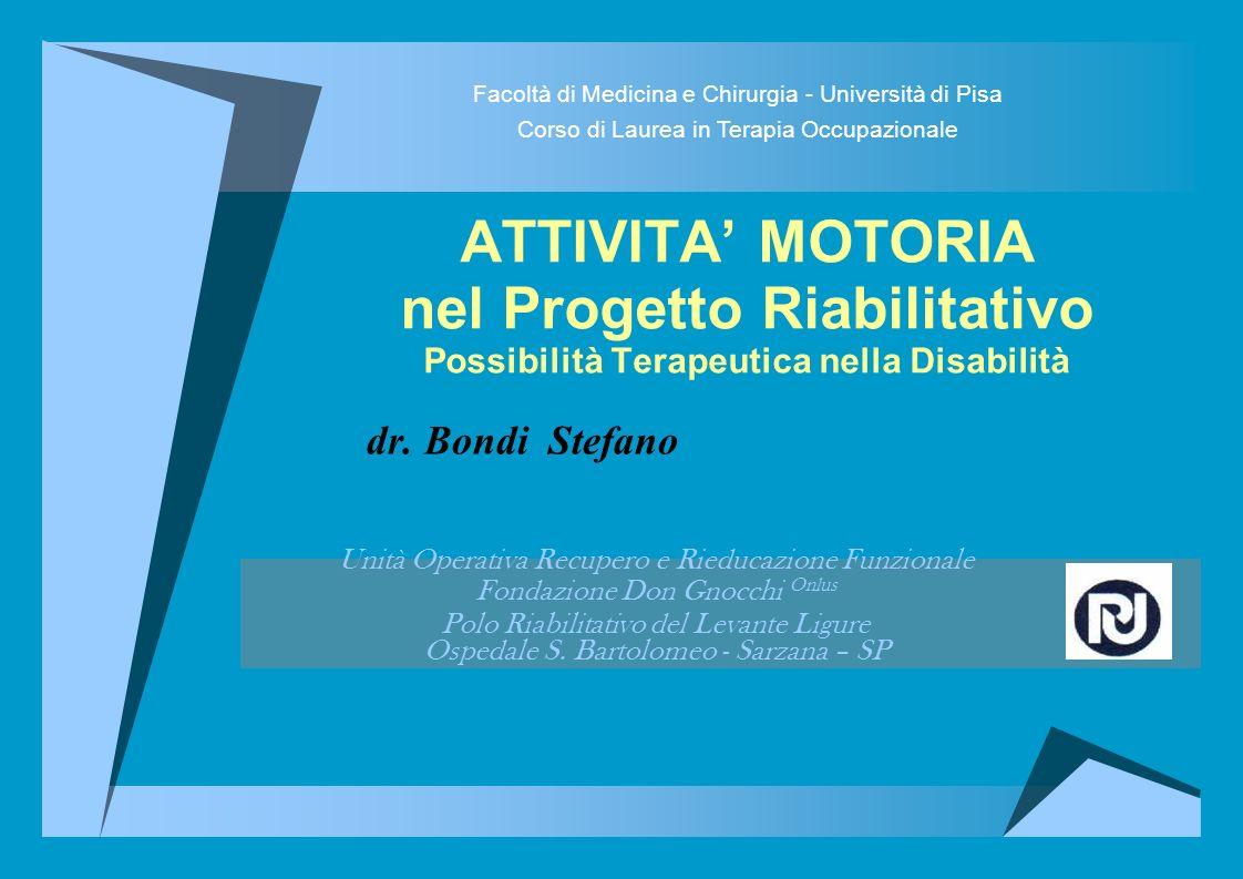 ATTIVITA MOTORIA nel Progetto Riabilitativo Possibilità Terapeutica nella Disabilità dr.