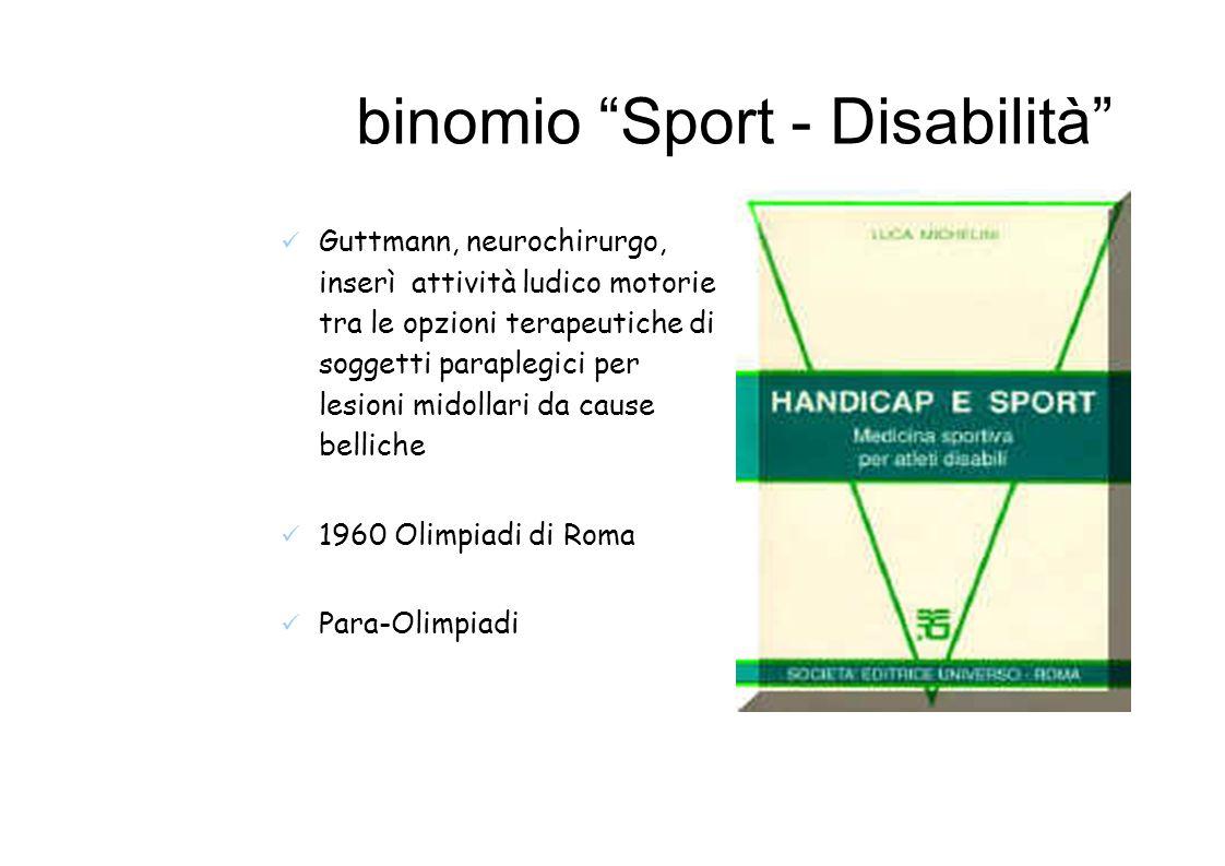 binomio Sport - Disabilità Guttmann, neurochirurgo, inserì attività ludico motorie tra le opzioni terapeutiche di soggetti paraplegici per lesioni midollari da cause belliche 1960 Olimpiadi di Roma Para-Olimpiadi