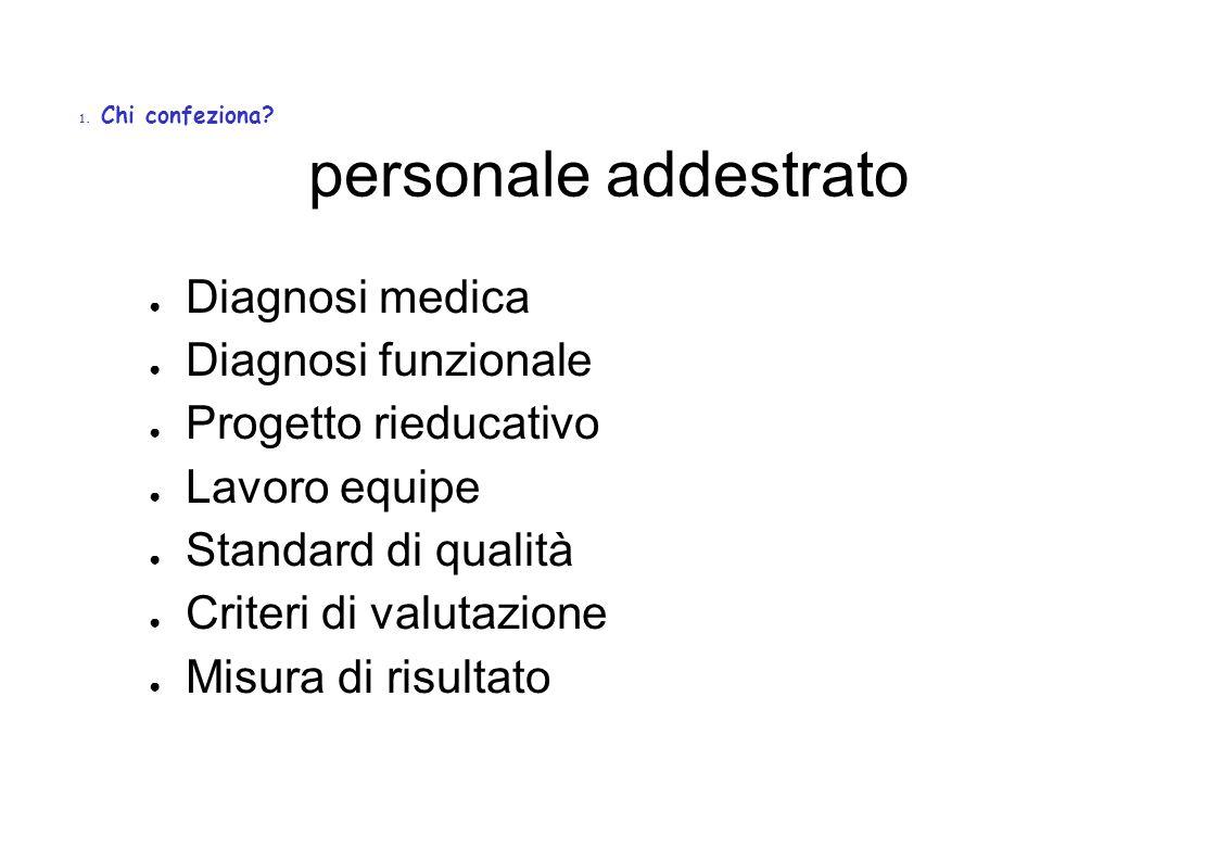 personale addestrato Diagnosi medica Diagnosi funzionale Progetto rieducativo Lavoro equipe Standard di qualità Criteri di valutazione Misura di risultato 1.