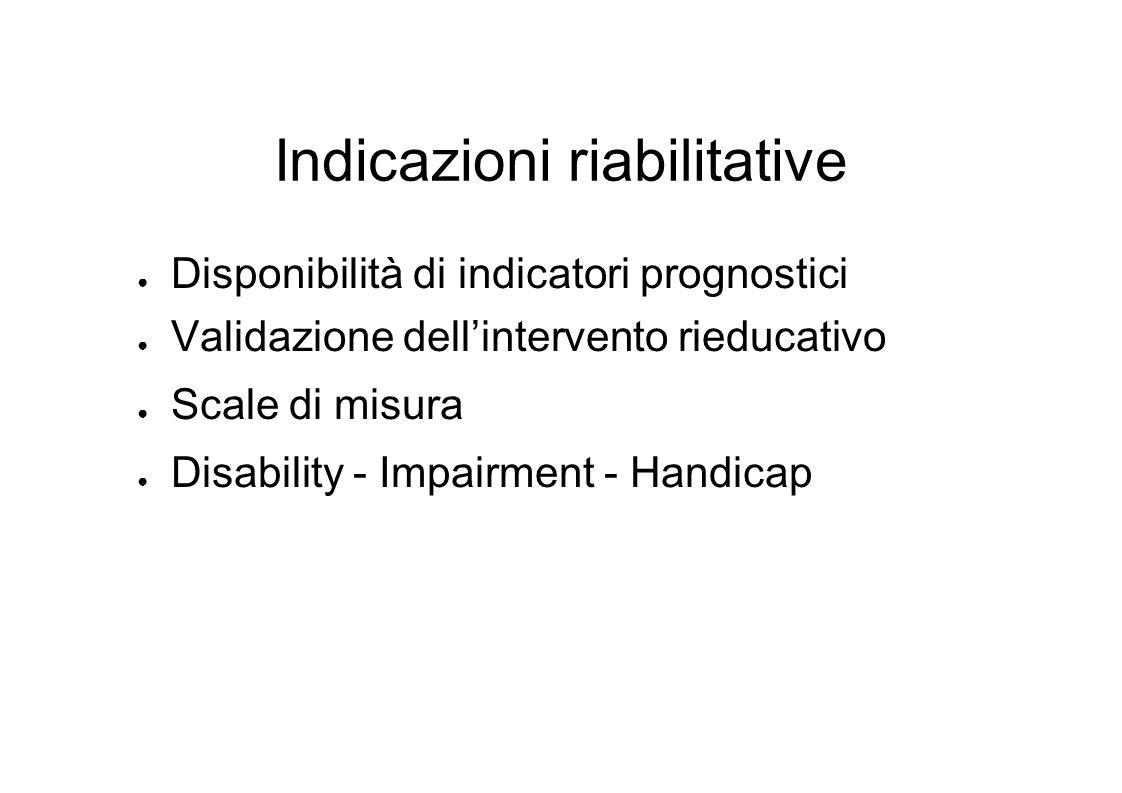 Indicazioni riabilitative Disponibilità di indicatori prognostici Validazione dellintervento rieducativo Scale di misura Disability - Impairment - Handicap