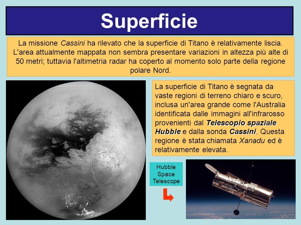 Superficie La missione Cassini ha rilevato che la superficie di Titano è relativamente liscia. L'area attualmente mappata non sembra presentare variaz