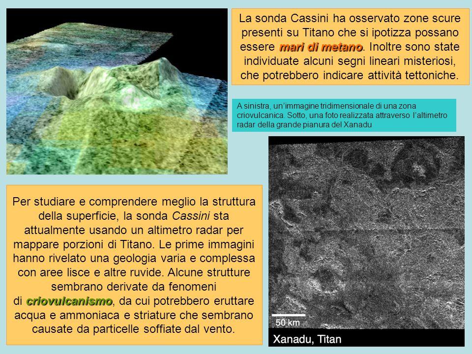 A sinistra, unimmagine tridimensionale di una zona criovulcanica. Sotto, una foto realizzata attraverso laltimetro radar della grande pianura del Xana
