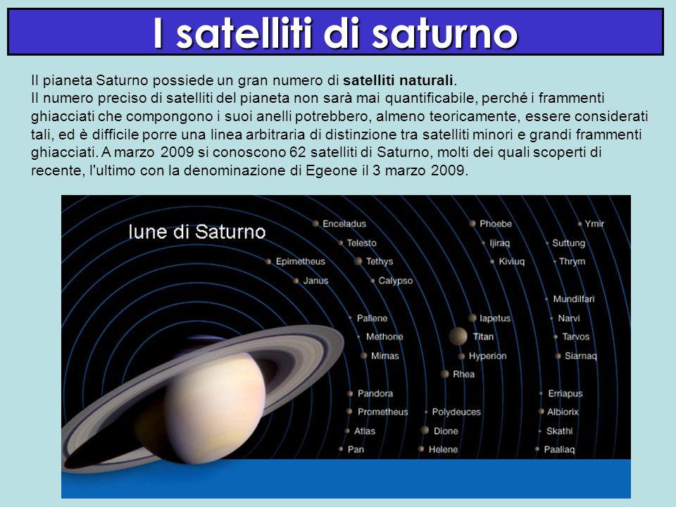 I satelliti di saturno Il pianeta Saturno possiede un gran numero di satelliti naturali. Il numero preciso di satelliti del pianeta non sarà mai quant
