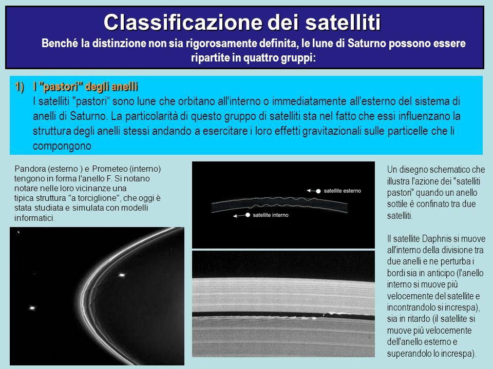 Classificazione dei satelliti Classificazione dei satelliti Benché la distinzione non sia rigorosamente definita, le lune di Saturno possono essere ri