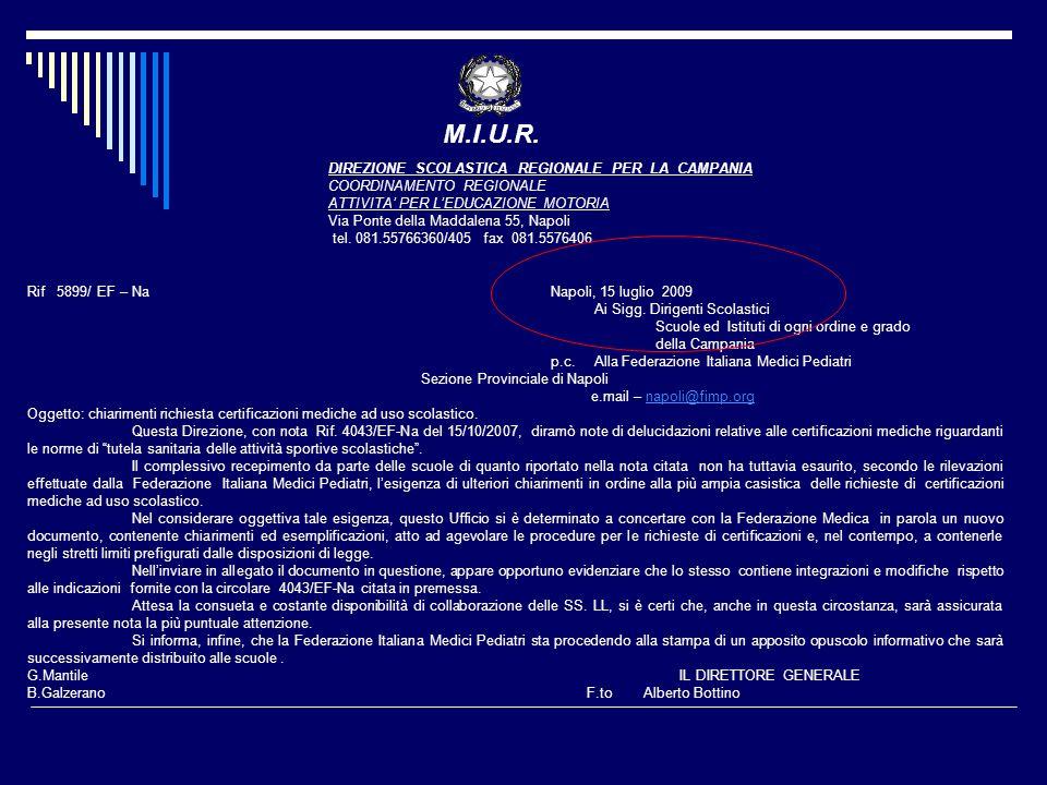 Rif 5899/ EF – NaNapoli, 15 luglio 2009 Ai Sigg. Dirigenti Scolastici Scuole ed Istituti di ogni ordine e grado della Campania p.c. Alla Federazione I