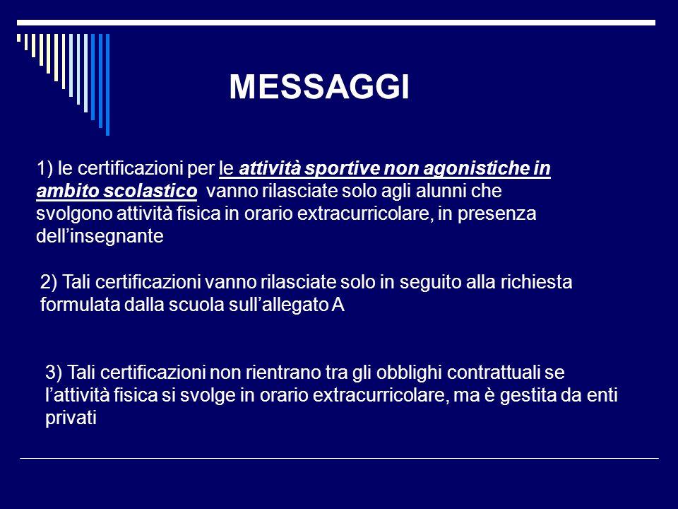 MESSAGGI 1) le certificazioni per le attività sportive non agonistiche in ambito scolastico vanno rilasciate solo agli alunni che svolgono attività fi