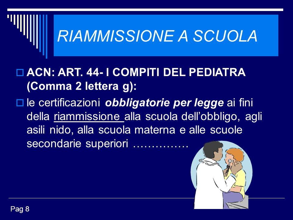 RIAMMISSIONE A SCUOLA ACN: ART. 44- I COMPITI DEL PEDIATRA (Comma 2 lettera g): le certificazioni obbligatorie per legge ai fini della riammissione al